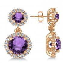 Two Stone Dangling Amethyst & Diamond Earrings 14k Rose Gold (3.00ct)