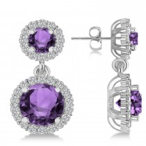 Two Stone Dangling Amethyst & Diamond Earrings 14k White Gold (3.00ct)