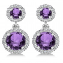 Two Stone Dangling Amethyst & Diamond Earrings 14k White Gold (3.00ct)