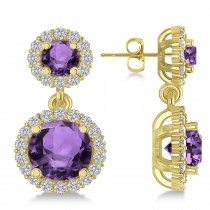 Two Stone Dangling Amethyst & Diamond Earrings 14k Yellow Gold (3.00ct)