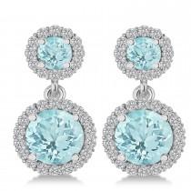 Two Stone Dangling Aquamarine & Diamond Earrinsg 14k White Gold (3.00ct)|escape
