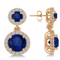 Two Stone Dangling Blue Sapphire & Diamond Earrings 14k Rose Gold (3.00ct)