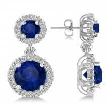 Two Stone Dangling Blue Sapphire & Diamond Earrings