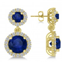 Two Stone Dangling Blue Sapphire & Diamond Earrings 14k Yellow Gold (3.00ct)