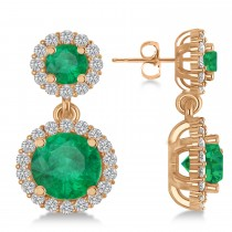 Two Stone Dangling Emerald & Diamond Earrings 14k Rose Gold (3.00ct)