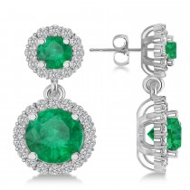 Two Stone Dangling Emerald & Diamond Earrings 14k White Gold (3.00ct)