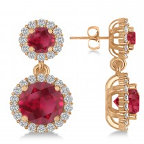 Two Stone Dangling Ruby & Diamond Earrings 14k Rose Gold (3.00ct)