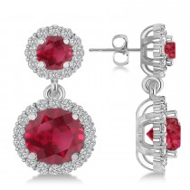 Two Stone Dangling Ruby & Diamond Earrings 14k White Gold (3.00ct)