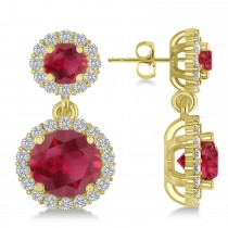 Two Stone Dangling Ruby & Diamond Earrings 14k Yellow Gold (3.00ct)