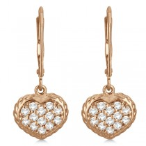 Lever Back Pave Diamond Heart Earrings 14K Rose Gold (0.50ct)