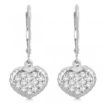 Lever Back Pave Diamond Heart Earrings 14K White Gold (0.50ct)