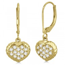 Lever Back Pave Diamond Heart Earrings 14K Yellow Gold (0.50ct)