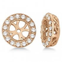 Vintage Round Cut Diamond Earring Jackets 14k Rose Gold (0.30ct)
