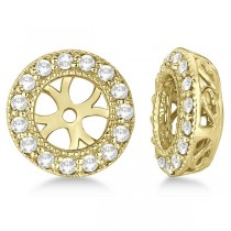 Vintage Round Cut Diamond Earring Jackets 14k Yellow Gold (0.40ct)