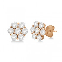 Flower Shaped Diamond Cluster Stud Earrings 14K Rose Gold (0.52ct)