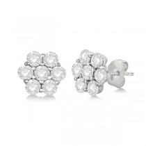 Flower Shaped Diamond Cluster Stud Earrings 14K White Gold (0.52ct)