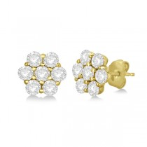 Flower Shaped Diamond Cluster Stud Earrings 14K Yellow Gold (0.52ct)