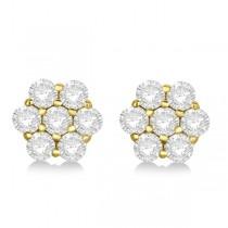 Flower Shaped Diamond Cluster Stud Earrings 14K Yellow Gold (0.52ct)