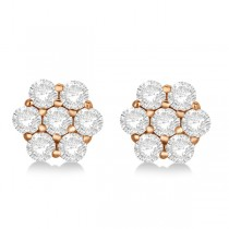 Flower Shaped Diamond Cluster Stud Earrings 14K Rose Gold (1.01ct)