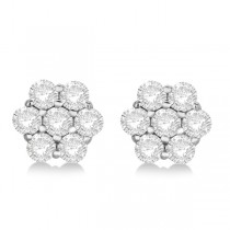 Flower Shaped Diamond Cluster Stud Earrings 14K White Gold (1.01ct)|escape
