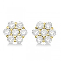 Flower Shaped Diamond Cluster Stud Earrings 14K Yellow Gold (1.01ct)