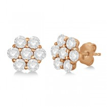 Flower Shaped Diamond Cluster Stud Earrings 14K Rose Gold (2.00ct)
