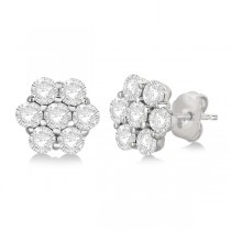 Flower Shaped Diamond Cluster Stud Earrings 14K White Gold (2.00ct)