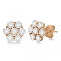 Flower Shaped Diamond Cluster Stud Earrings 14K Rose Gold (2.80ct)