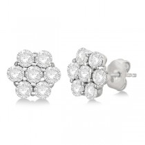 Flower Shaped Diamond Cluster Stud Earrings 14K White Gold (2.80ct)