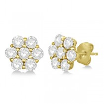 Flower Shaped Diamond Cluster Stud Earrings 14K Yellow Gold (2.80ct)