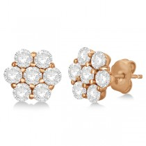 Flower Shaped Diamond Cluster Stud Earrings 14K Rose Gold (3.50ct)