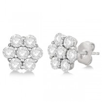 Flower Shaped Diamond Cluster Stud Earrings 14K White Gold (3.50ct)