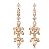 Diamond Floral Vine Leaf Dangling Earrings 14k Rose Gold (1.06ct)