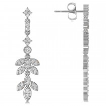 Diamond Floral Vine Leaf Dangling Earrings 14k White Gold (1.06ct)