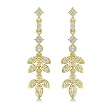 Diamond Floral Vine Leaf Dangling Earrings 14k Yellow Gold (1.06ct)