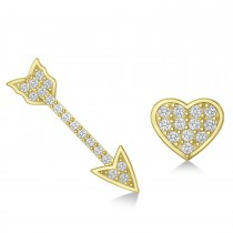 Heart & Arrow Diamond Mismatched Earrings 14k Yellow Gold (0.21ct)