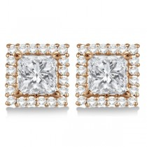 Square Diamond Earring Jackets Pave-Set 14k Rose Gold (1.01ct)