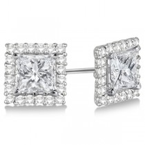 Square Diamond Earring Jackets Pave-Set 14k White Gold (0.50ct)