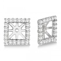 Pave-Set Square Diamond Earring Jackets 14k White Gold (0.55ct)