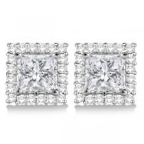 Square Diamond Earring Jackets Pave-Set 14k White Gold (0.77ct)
