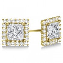 Square Diamond Earring Jackets Pave-Set 14k Yellow Gold (0.46ct)