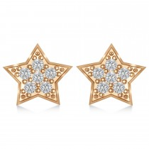 Moon & Star Diamond Mismatched Earrings 14k Rose Gold (0.14ct)