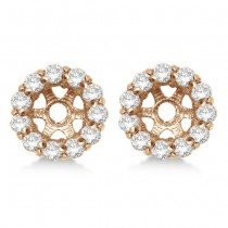 Round Diamond Earring Jackets for 6mm Studs 14K Rose Gold (0.80ct)
