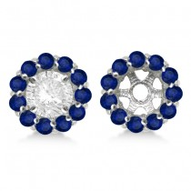 Round Blue Sapphire Earring Jackets 5mm Studs 14K White Gold (1.08ct)