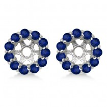 Round Blue Sapphire Earring Jackets 6mm Studs 14K White Gold (1.20ct)