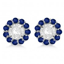 Round Blue Sapphire Earring Jackets 7mm Studs 14K White Gold (1.32ct)