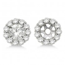 Round Diamond Earring Jackets for 9mm Studs 14k White Gold (1.12ct)