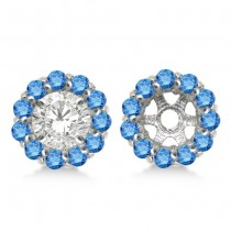 Round Blue Diamond Earring Jackets for 4mm Studs 14K White Gold (0.64ct)