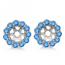 Round Blue Diamond Earring Jackets for 7mm Studs 14K White Gold (0.90ct)