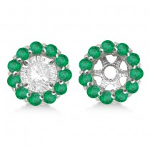 Round Emerald Earring Jackets for 4mm Studs 14K White Gold (0.96ct)